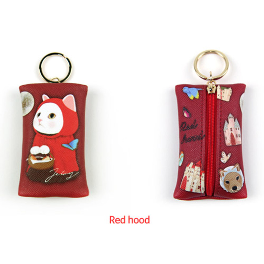 Red hood - Choo Choo petit key ring with small zippered case