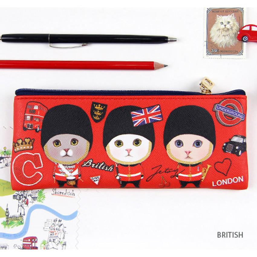 British - Choo Choo slim zipper pencil case