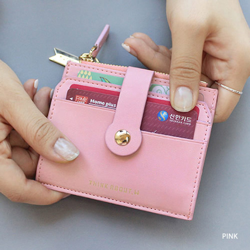 Pink - Think about W folding card case