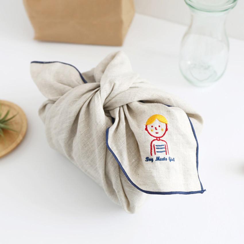 Boy - My big boy and girl linen handkerchief