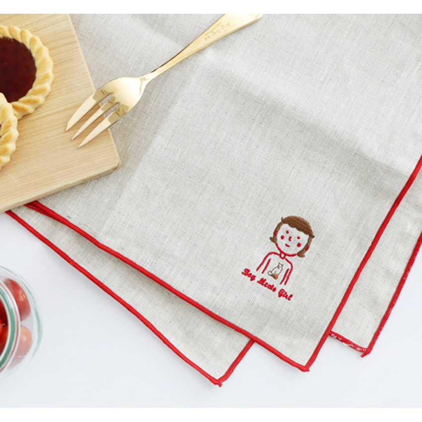Girl - My big boy and girl linen handkerchief