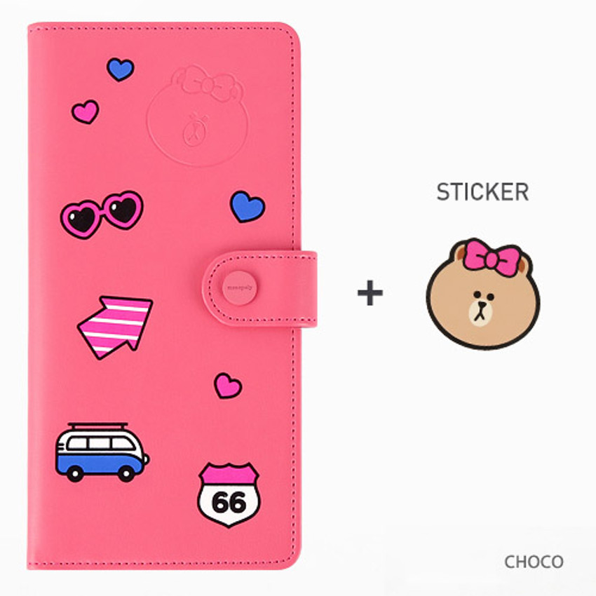 Choco - Line friends RFID blocking long passport case