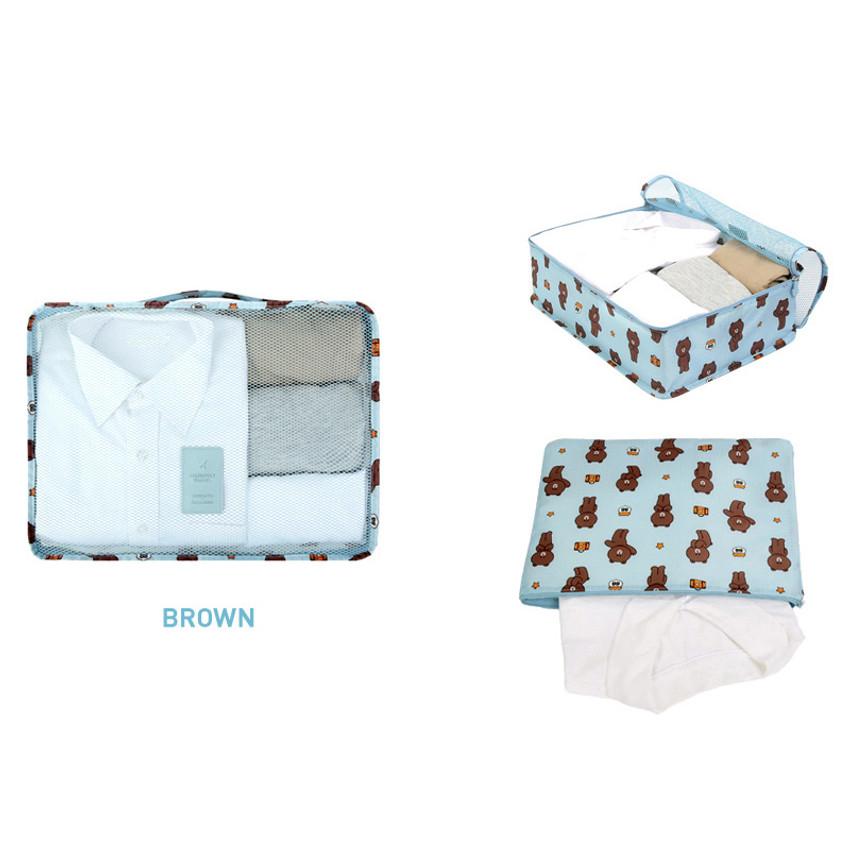 Brown - Line friends large travel mesh bag packing organizer