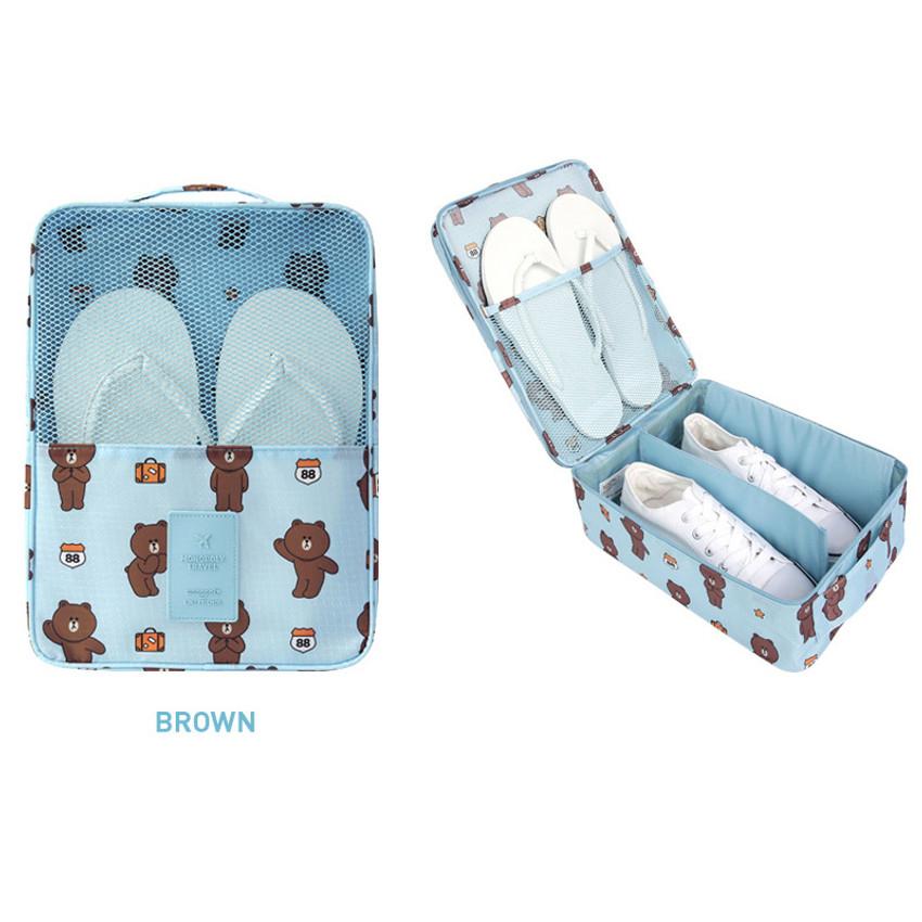 Brown - Line friends travel shoes mesh pocket pouch
