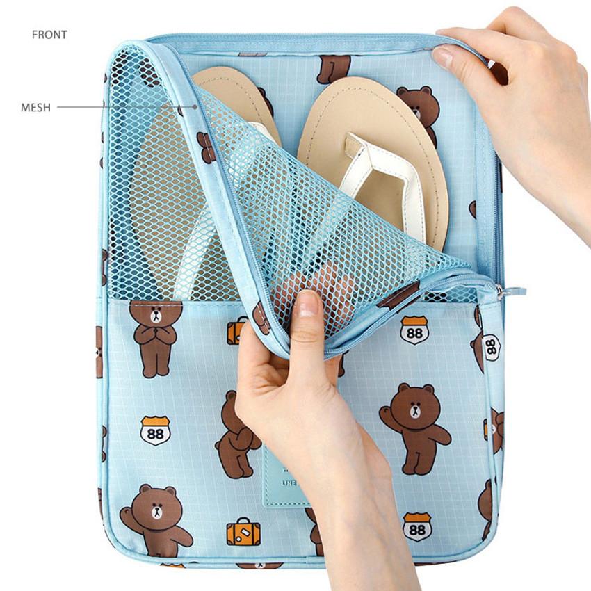 Front - Line friends travel shoes mesh pocket pouch
