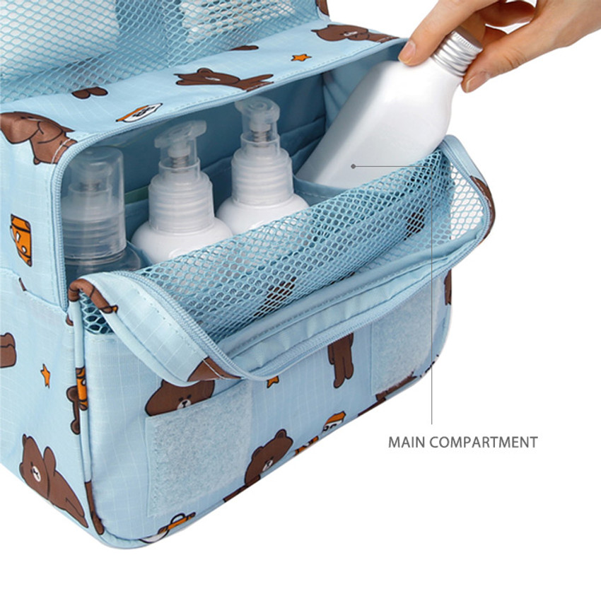 Main compartment - travel hanging toiletry pouch bag