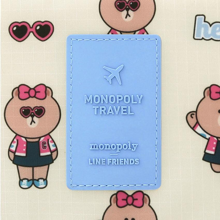 Rubber logo - Line friends travel mesh large zipper pouch