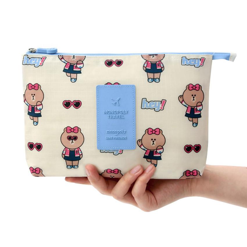 Line friends travel mesh large zipper pouch