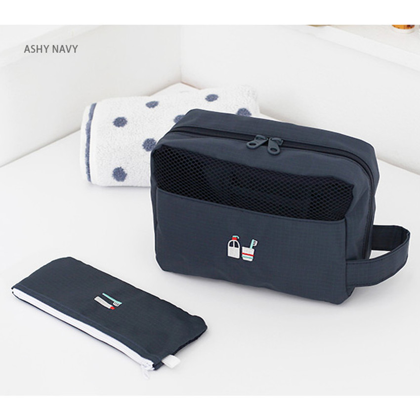Ashy navy - Travel toiletry bag and toothbrush pouch set