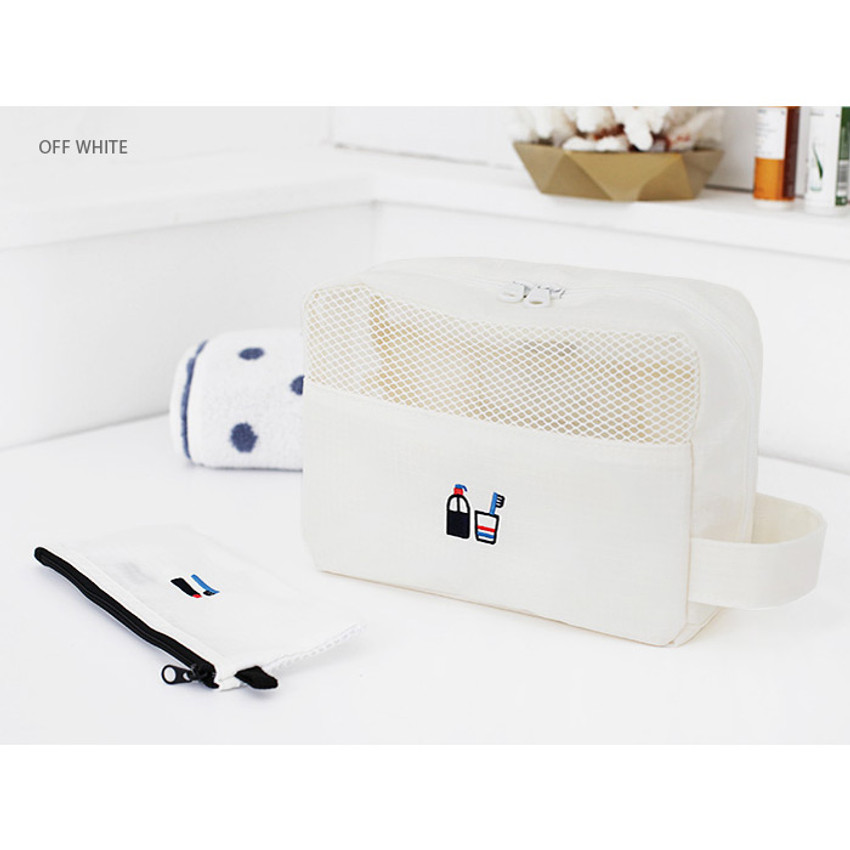 Off white - Travel toiletry bag and toothbrush pouch set