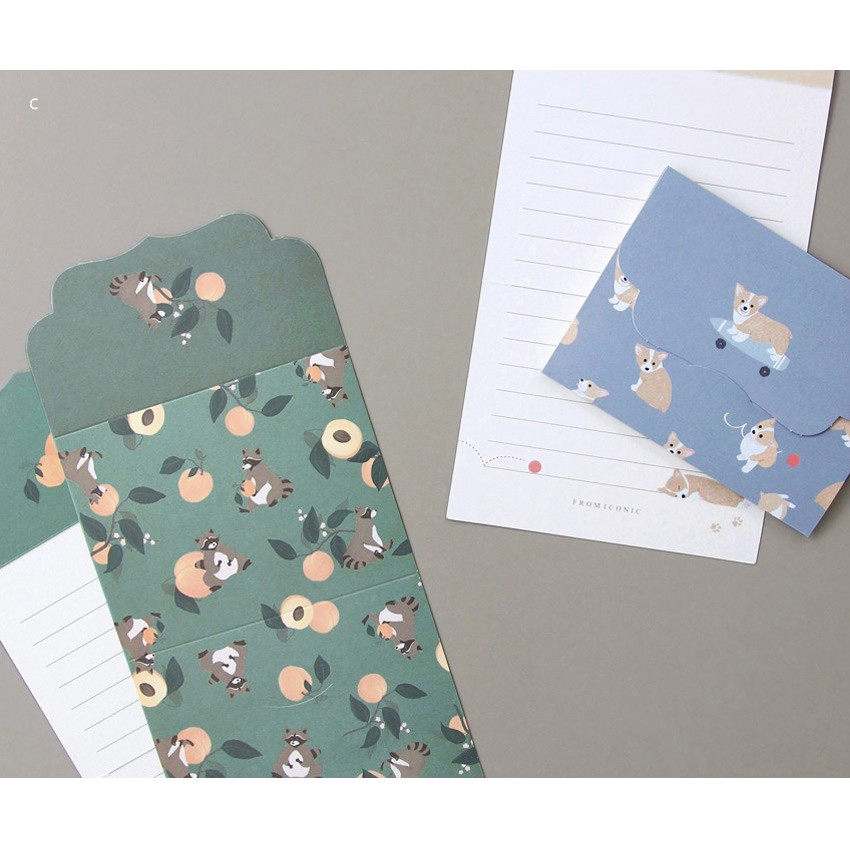 C - From letter paper and envelope set