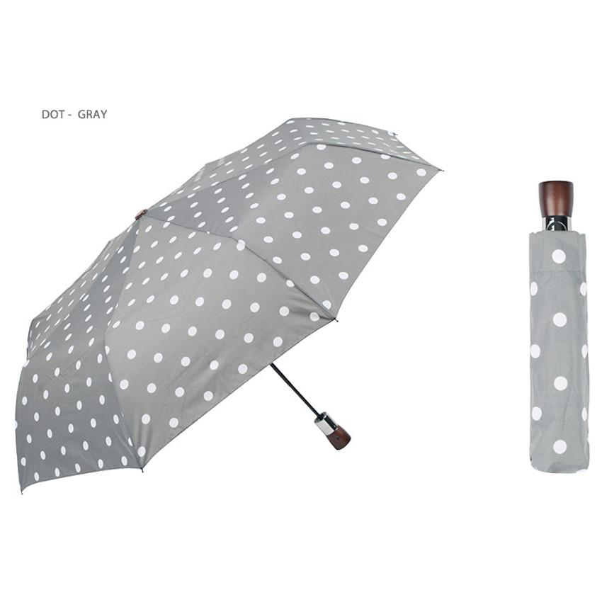 Dot-gray - Life studio automatic foldable pattern umbrella