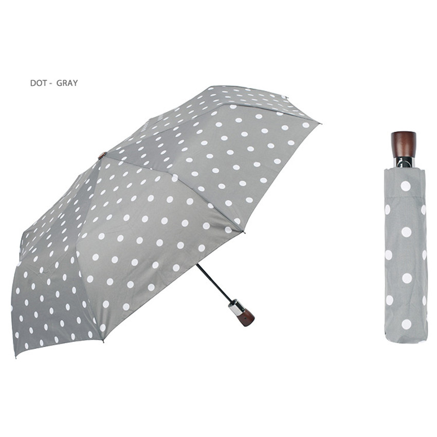 Dot-gray - Life studio automatic foldable pattern umbrella