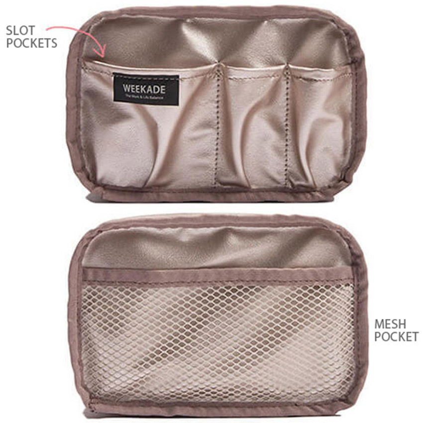 Composition of Weekade daily makeup cosmetic pouch bag