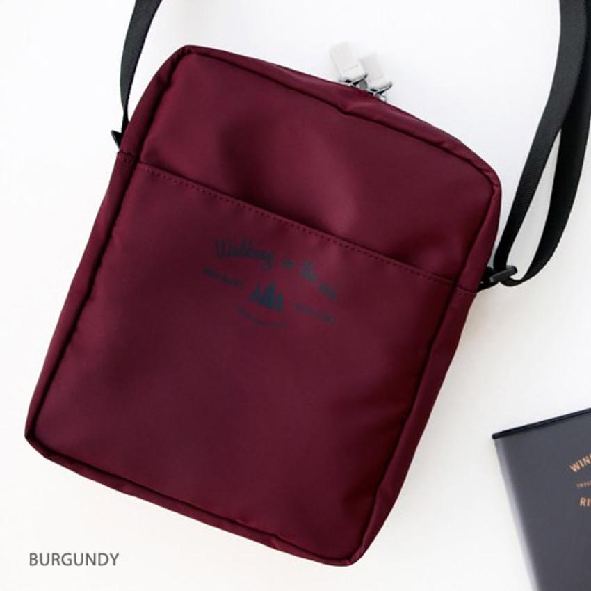Burgundy - Voyager double zippered crossbody bag