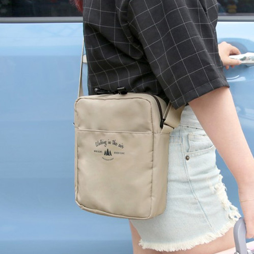 Beige - Voyager double zippered crossbody bag