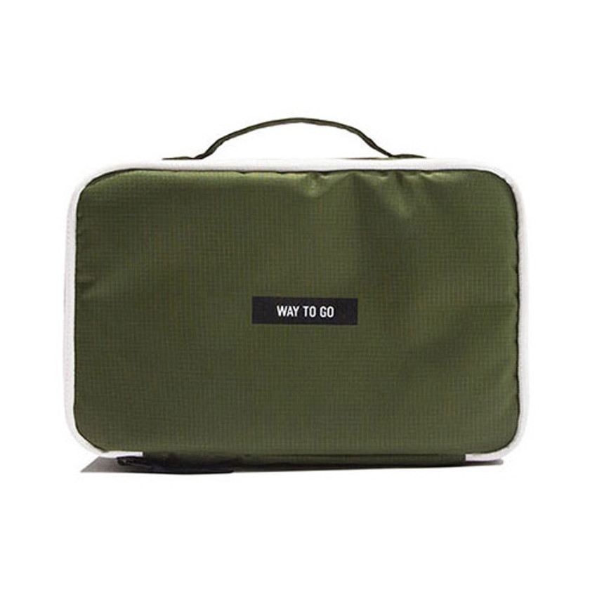 Khaki - Weekade travel makeup cosmetic pouch bag