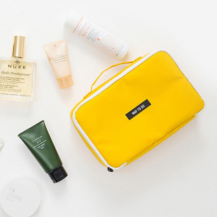 Yellow - Weekade travel makeup cosmetic pouch bag