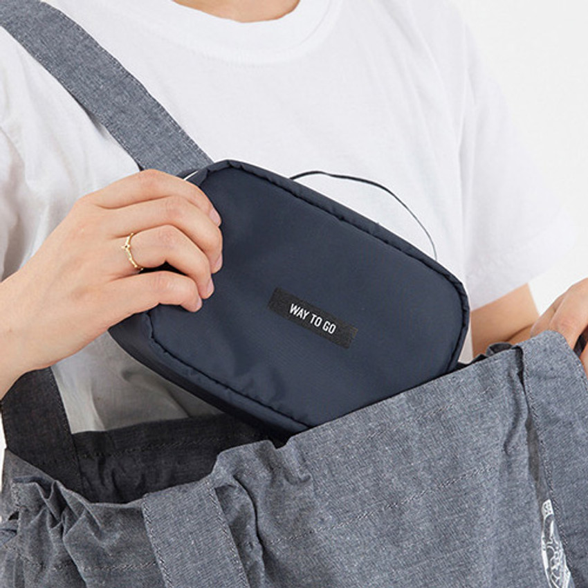 Gray - Weekade travel makeup cosmetic pouch bag