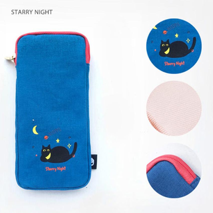 Starry night - Hey buddy soft flat pencil case