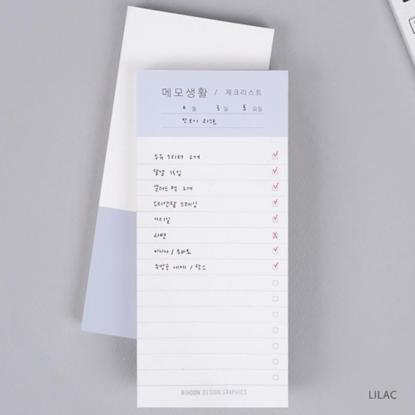 Lilac - Memo life for you checklist notepad