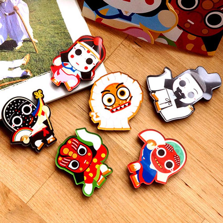 Korean traditional talchum character magnet