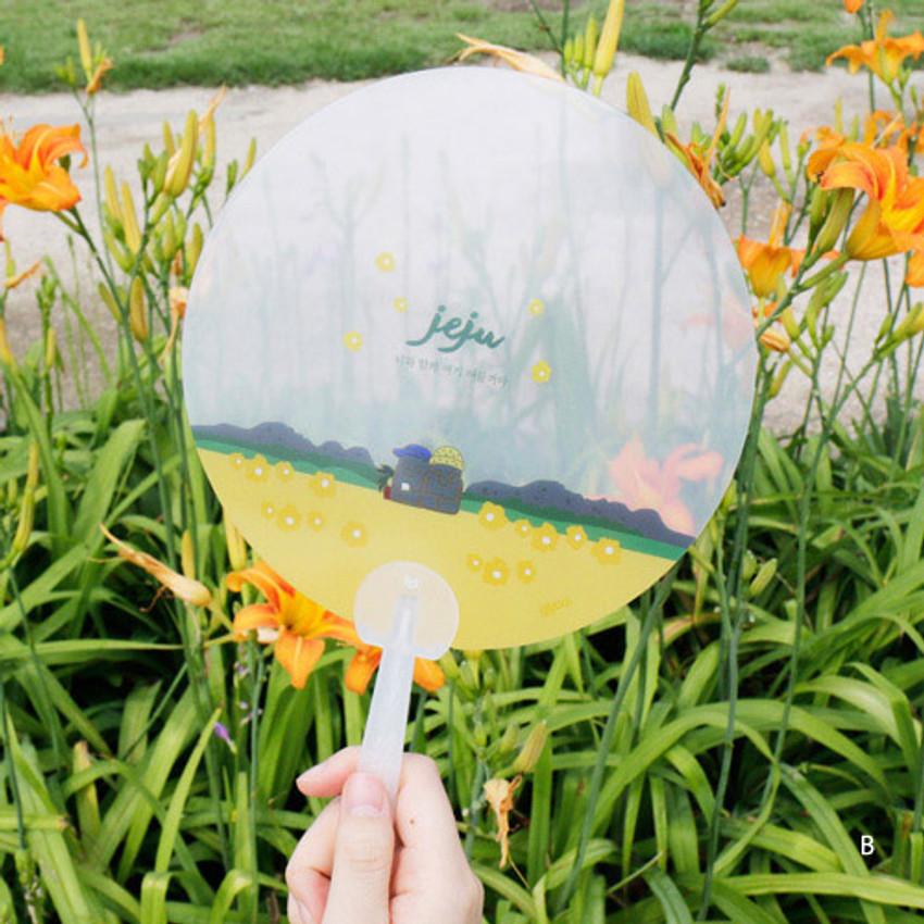 B - Jeju island round hand fan