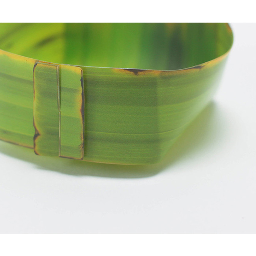 nature vividly with description of pattern of banana leaf realistically