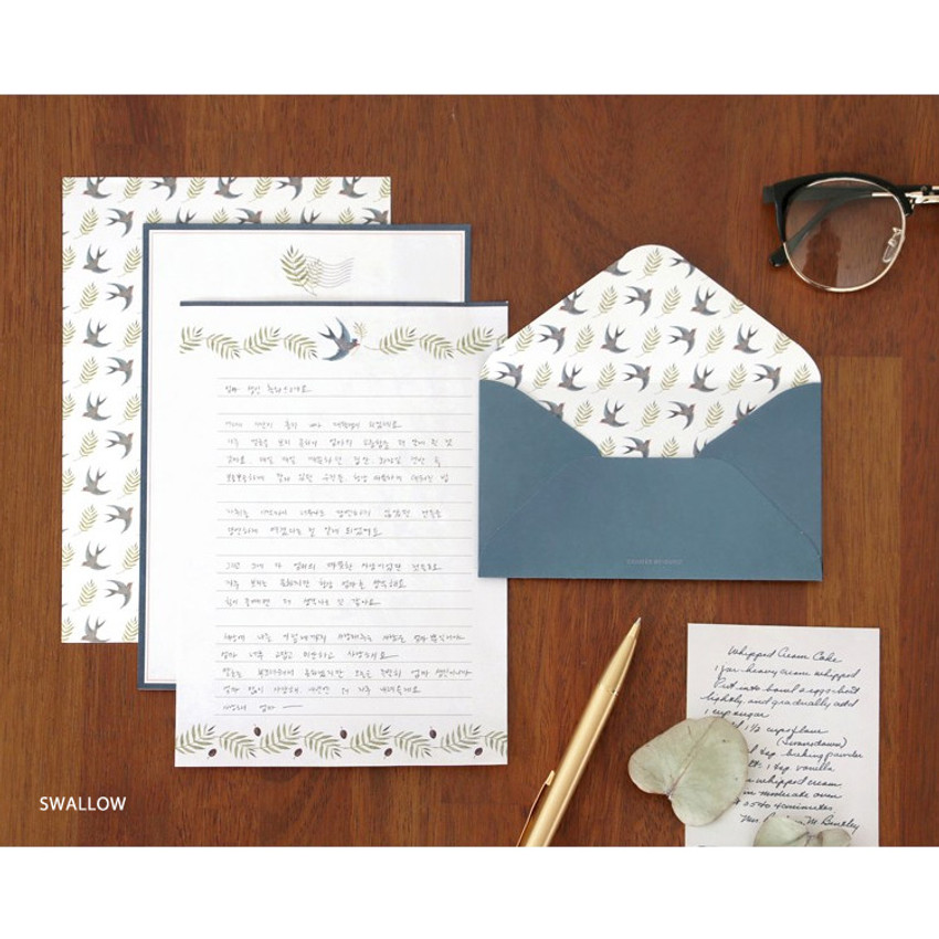 Swallow - Pattern letter paper and envelope set for you
