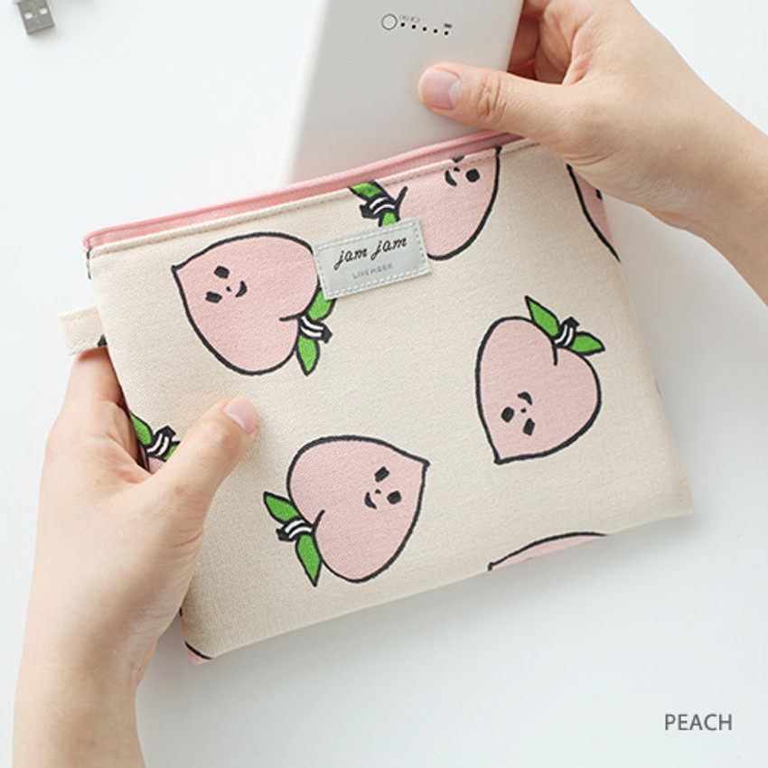 Peach - Jam Jam toilon pattern rectangular pouch