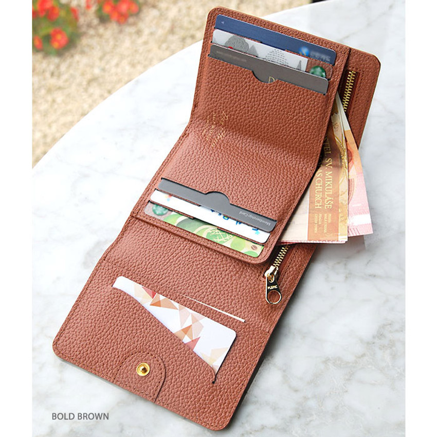 Brown - Day classic cowhide leather trifold wallet