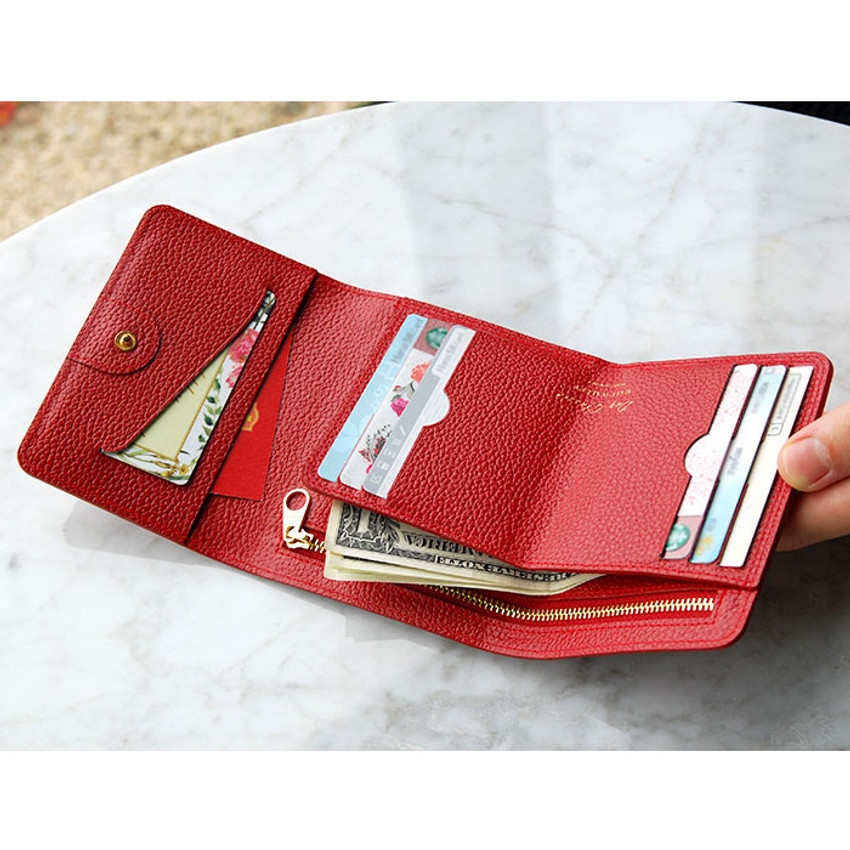 Red - Day classic cowhide leather trifold wallet