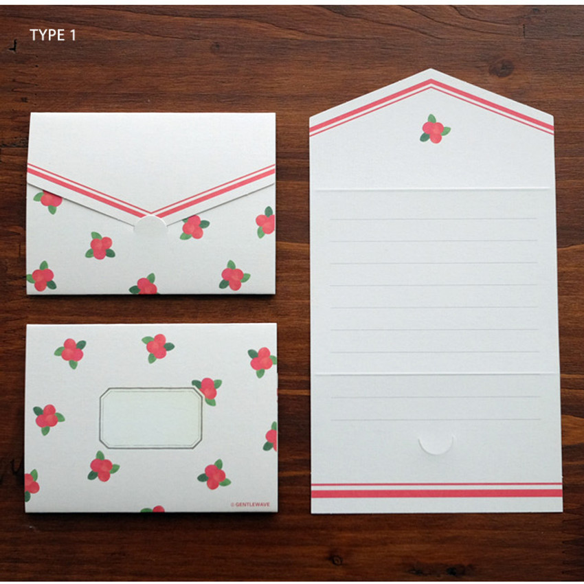 Cherry pattern small folded card