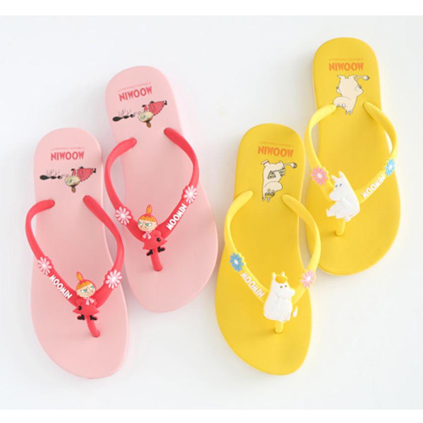 Pink, Yellow - Moomin women's flip flop