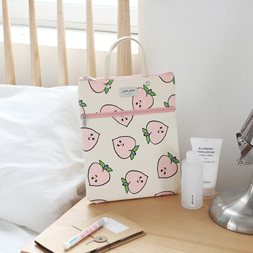 Peach - Jam Jam pattern zipper small tote bag