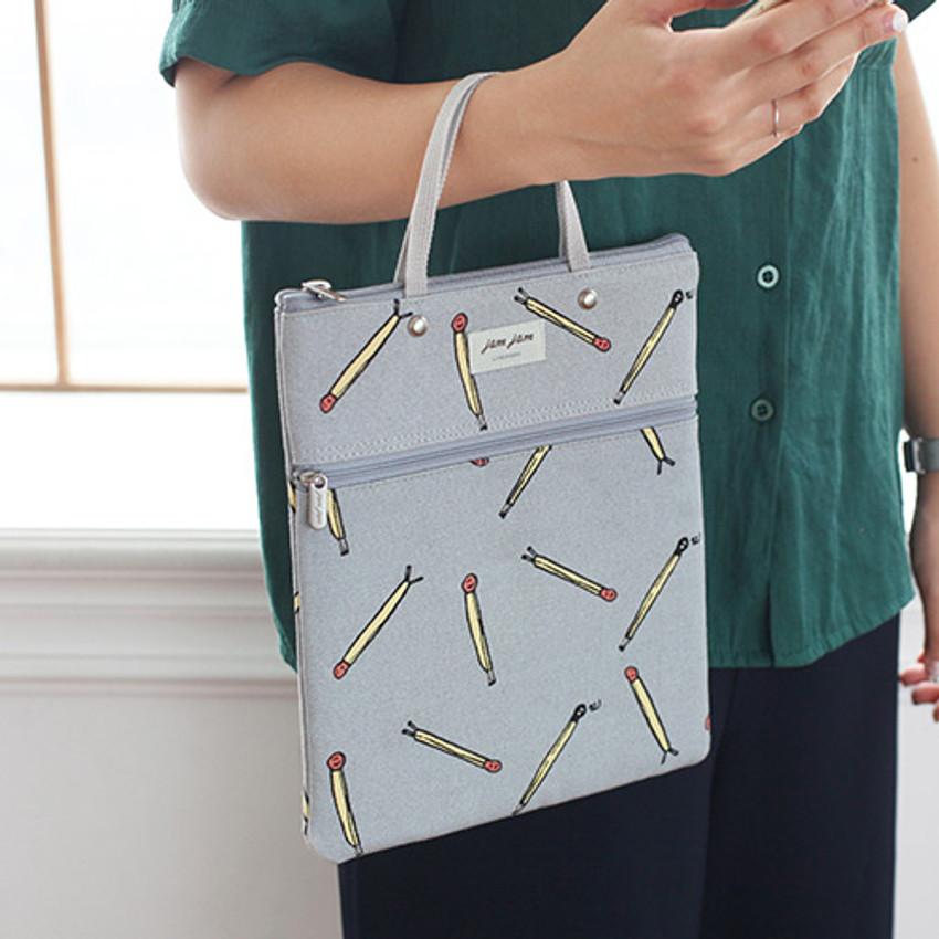 Matchstick - Jam Jam pattern zipper small tote bag