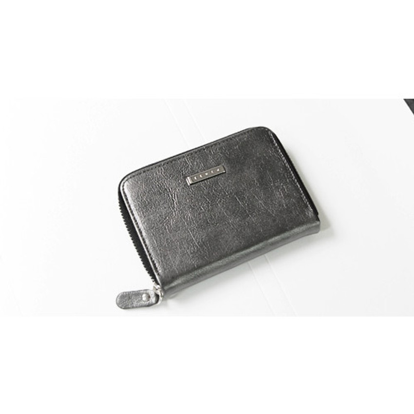 Space gray - Simple zippered accordion card wallet