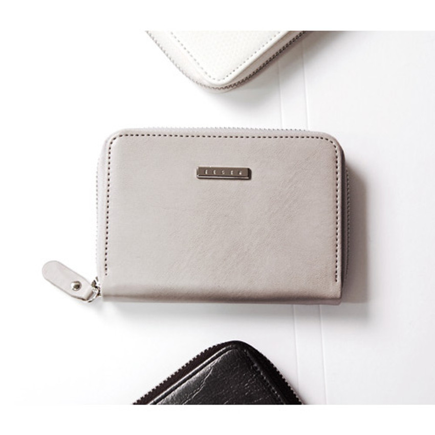 Modern gray - Simple zippered accordion card wallet