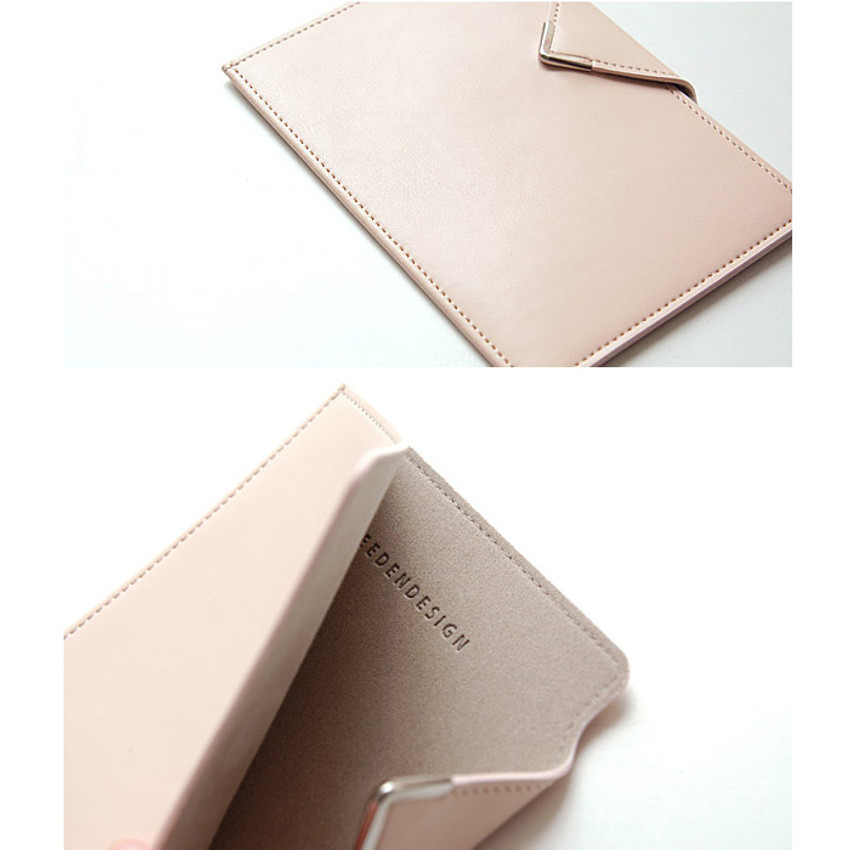 Detail of Simple passport holder with magnetic snap closure