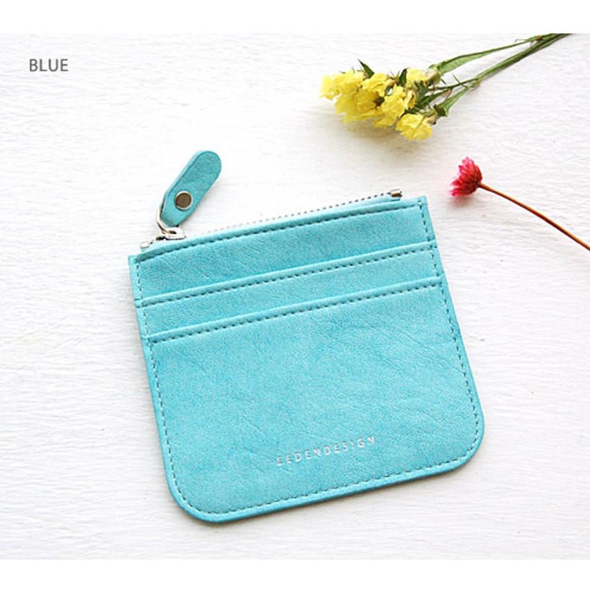 Blue - Simple flat pocket card case holder