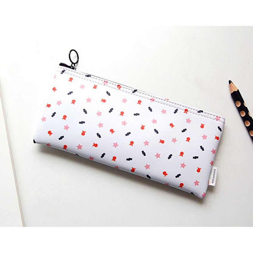 Sea - Pattern zipper slim pencil case