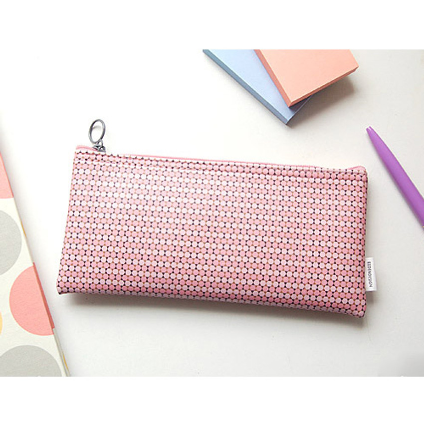 Pink - Pattern zipper slim pencil case