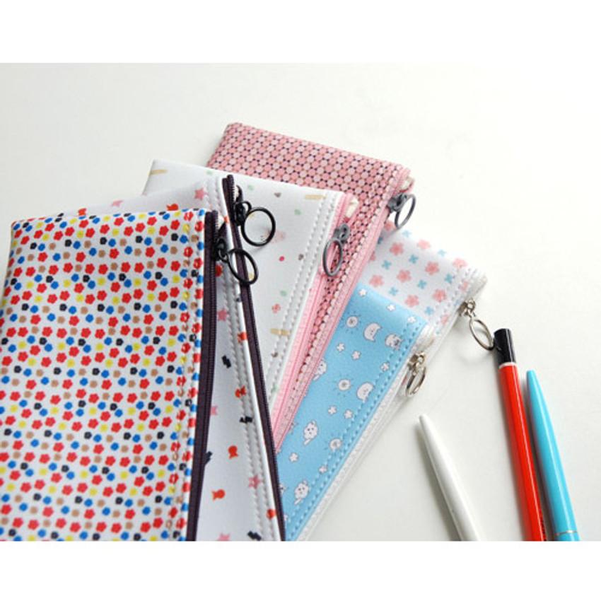 Pattern zipper slim pencil case