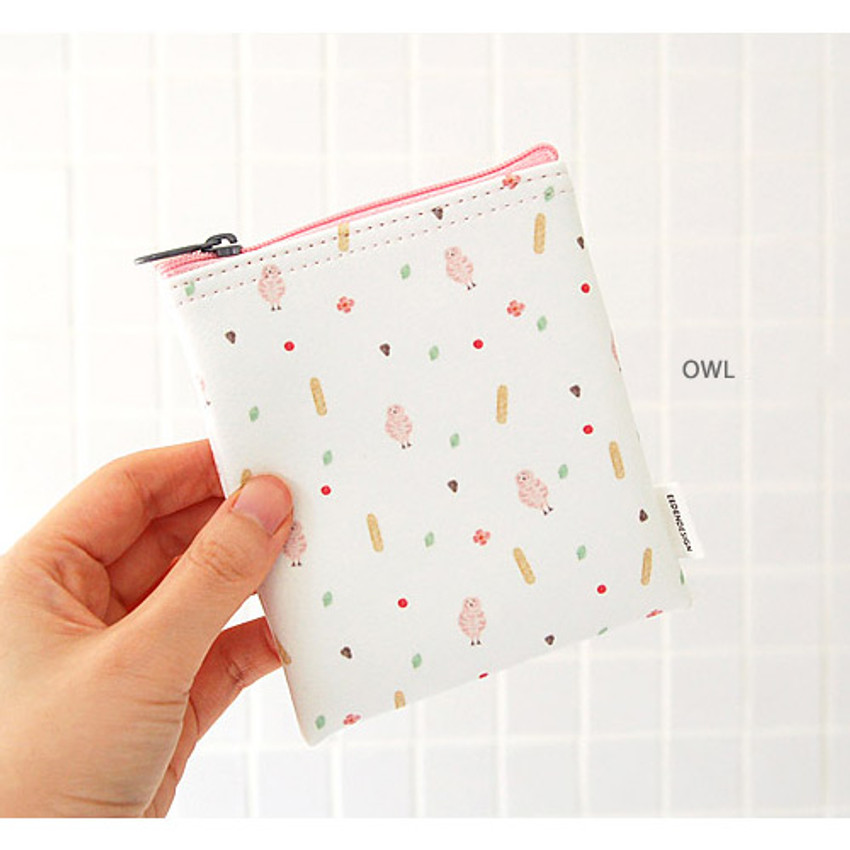 Owl - Pattern small zipper flat pouch