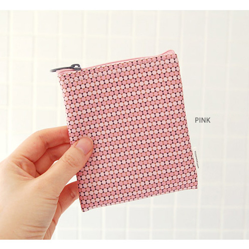 Pink - Pattern small zipper flat pouch