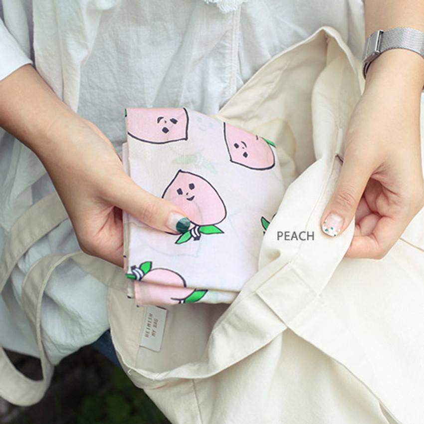 Peach - Jam Jam pattern hankie handkerchief