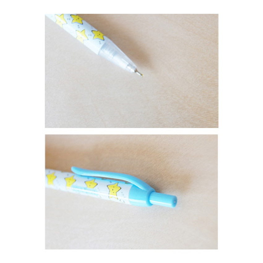 Detail of Cheer up knock retractable black ballpoint pen