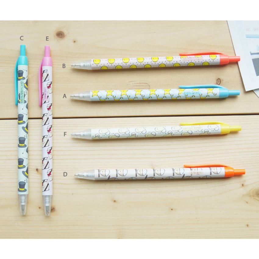 Cheer up knock retractable black ballpoint pen