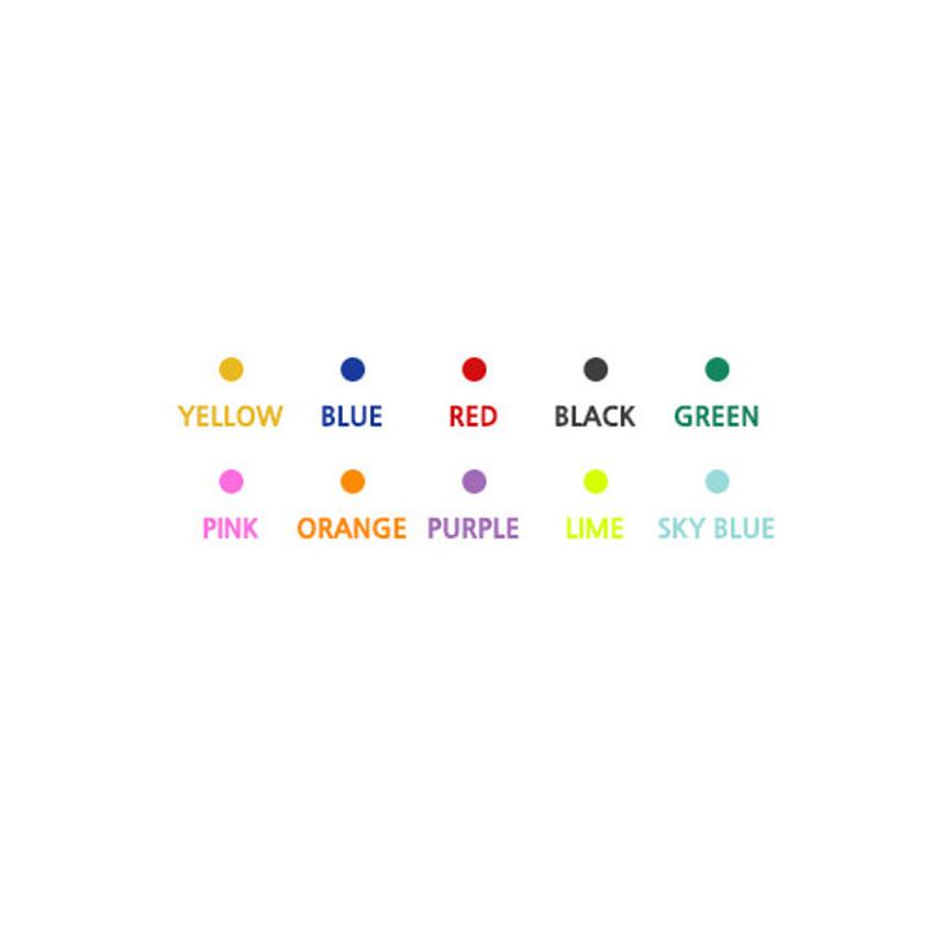 Colors of 10 Colors double ended color gel pen