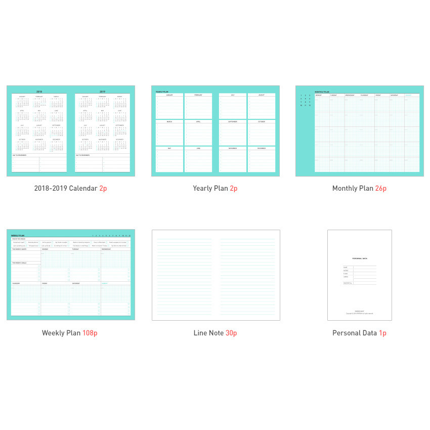 Composition of Chill out undated weekly planner